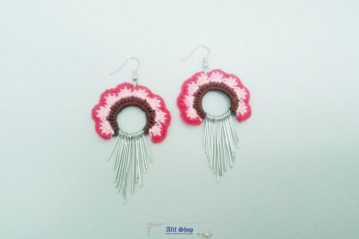 SUPER SALE /Colorful Crochet Earrings /Textile Accessories /Boho Earrings /Pierced Earrings /Dangle earrings /Gift for her by AfifShop on Etsy