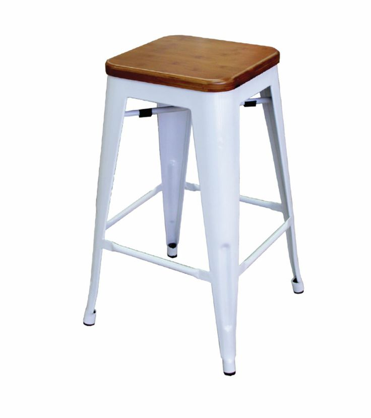 Bambi 660mm Timber & White Steel Bar Stool