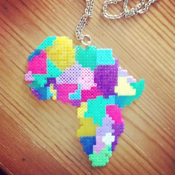 Africa necklace hama perler beads by Jannieel on Etsy