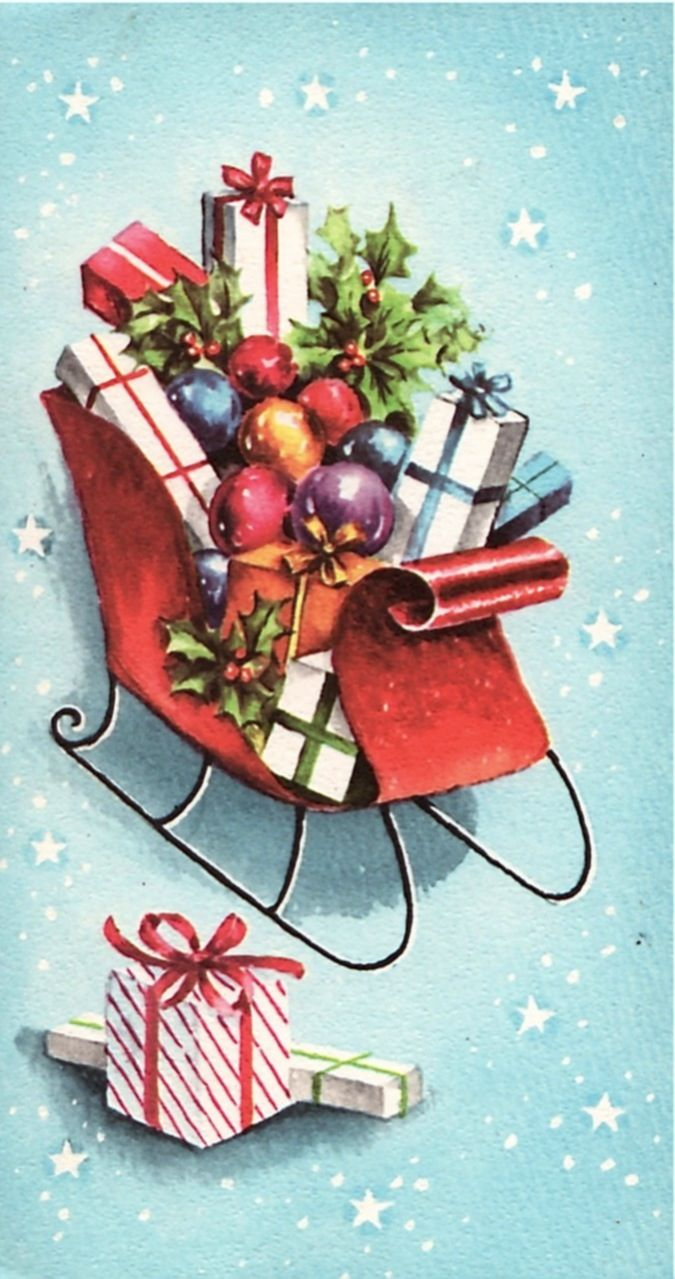 Christmas packages in sleigh. | ~Cards~ Christmas Gifts~ | Pinterest | Christmas Vintage christmas cards and Christmas Cards & Christmas packages in sleigh. | ~Cards~ Christmas Gifts~ | Pinterest ...