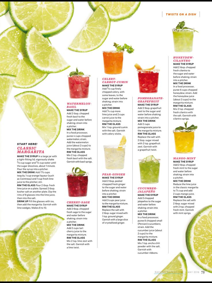 Rachael Ray Magazine May 2016 Margaritas - watermelon basil, cherry sage, celery carrot cumin, pear ginger, pomegranate grapefruit, cucumber jalapeño, honeydew cilantro, mango mint