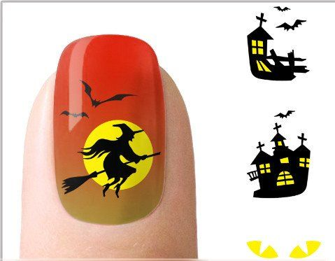 Halloween Nail Art  flying witch on broom Nail Art Water Decals Transfers