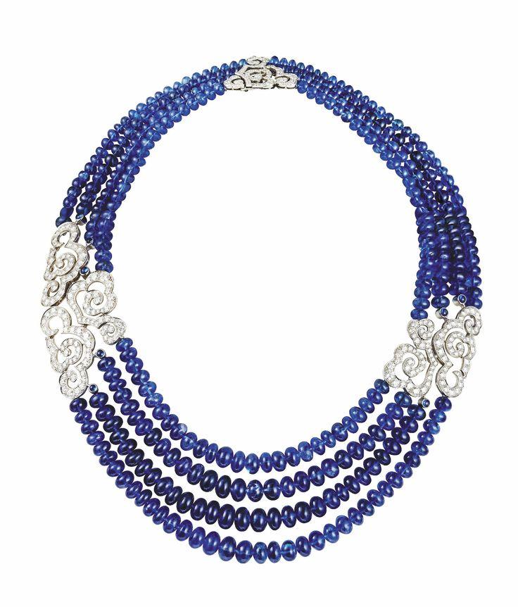 Cartier Diamond Amp Sapphire Bead Necklace ♡ Cartier
