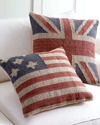 American & British Flag Pillows. I love things like this for our Brit/American blended family =]