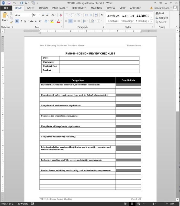 Product Design Review Checklist Template Pm1010 4 Throughout Training Manual Templat Checklist Template Standard Operating Procedure Template Manual Template