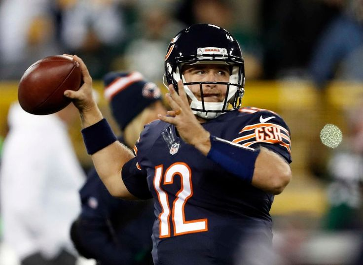 Thursday Night Football: Bears vs. Packers  -  October 20, 2016  -  26-10, Packers  - Chicago Bears quarterback Matt Barkley (12) warms up before an NFL football game against the Green Bay Packers, Thursday, Oct. 20, 2016, in Green Bay, Wis.