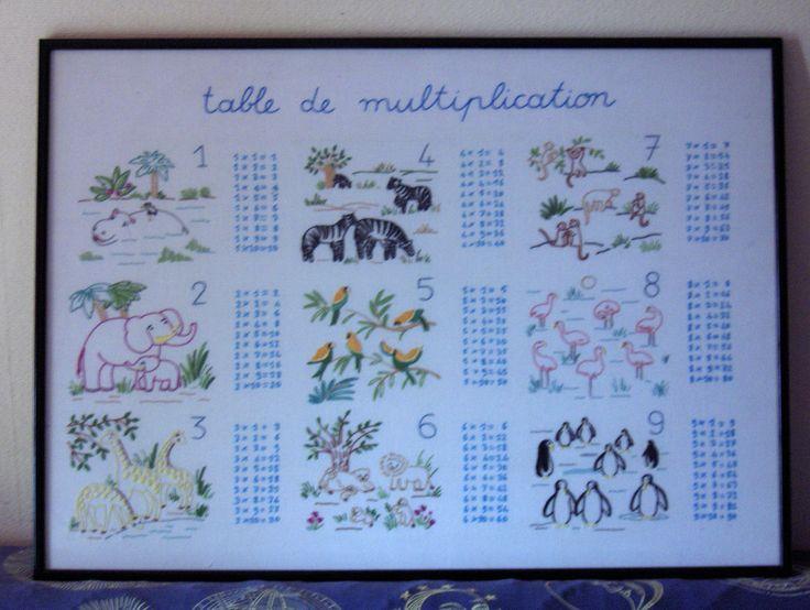 tables de multiplication (broderie point de tige)