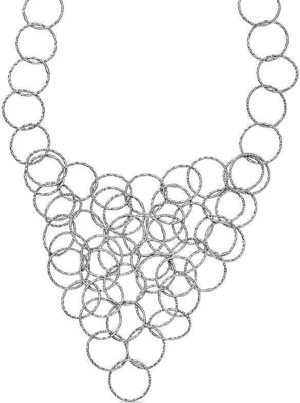 """Zales Textured Interlocking Circles Necklace in Sterling Silver - 20"""""""