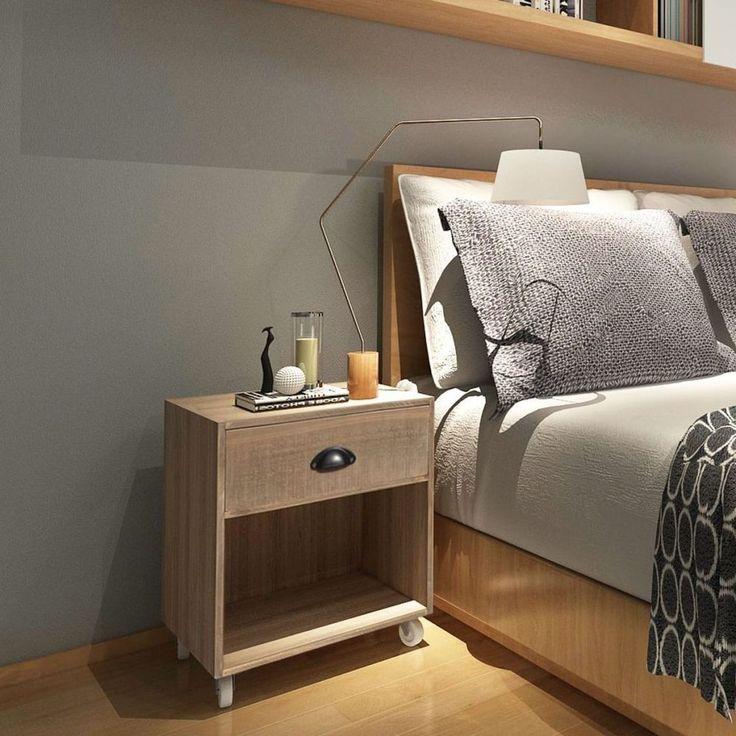 Home Bedside Cabinet Table Bedroom Nightstand Furniture Wood Drawer Storaging #HomeBedsideCabinet