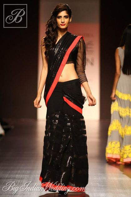 Manish Malhotra black shimmer saree
