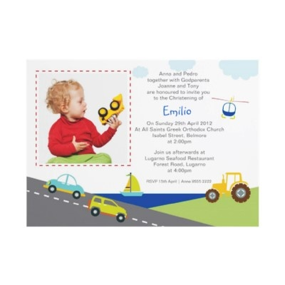 Transport Christening Invitations by Inviting Kids