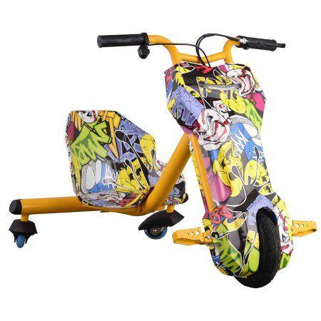 MotoTec Triker 24v Drift Scooter (Lithium) Yellow