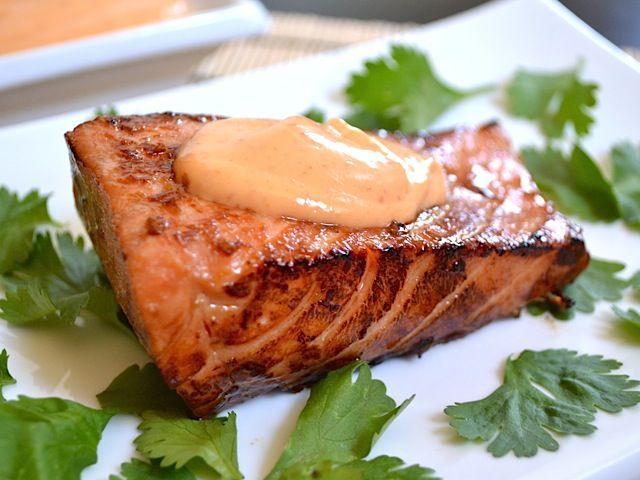 teriyaki salmon with sriracha mayo - Budget Bytes: Delicious! Homemade teriyaki sauce is the best I've had. I baked mine on parchment paper rather than pan frying and it was perfect.