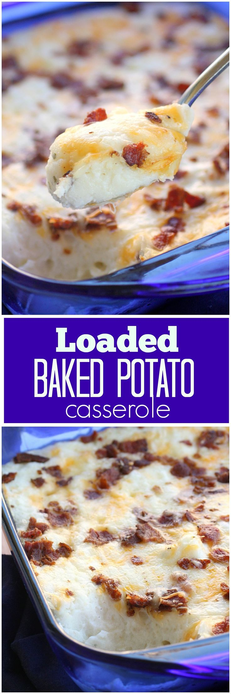 Loaded Baked Potato Casserole - creamy and full of everything you would find in a baked potato. the-girl-who-ate-everything.com