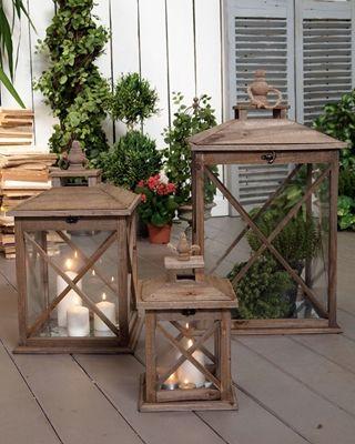 Set 3 lanterne antique wood - cm.40x40xh.69 (56.2323)