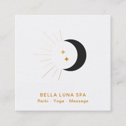 Illustrator Business Card Gold Moon Beams Crescent Moon Twinkle Stars Square Business Card - spa gifts diy...