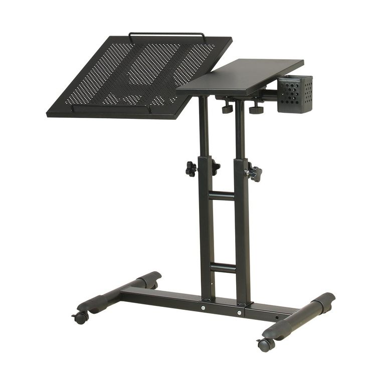 Redscorpion Adjustable Height Rolling Laptop Desk Table,Computer Desk,Over Sofa Bed Table,Tattooing Work Cart (black). Sheet Material:Steel,More Stronger and Stable;Four Wheel Brakes is Made of Nylon,End Stopper on Both Ends Prevents Laptop from Falling Off the Table When Tilted. Lift Function:According Tables and Chairs Height to Adjust Central Height(Adjustable Height:23-39 Inches),Whether Tt is Work or Relax,Your Arms Naturally Feel Relaxed and Comfortable. Rotation Function:360…