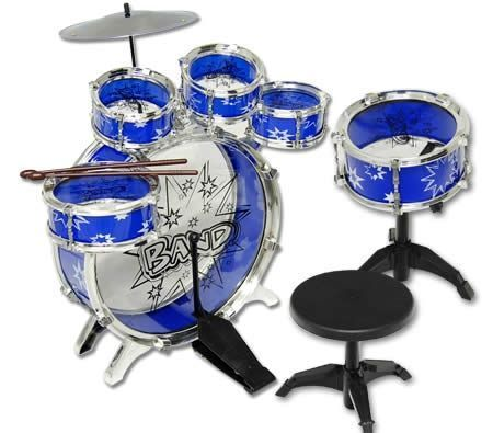 Christmas Gift Ideas - Big Band Let's Rock in Roll Toy Jazz Drum 6PCs Blue Music Play Set