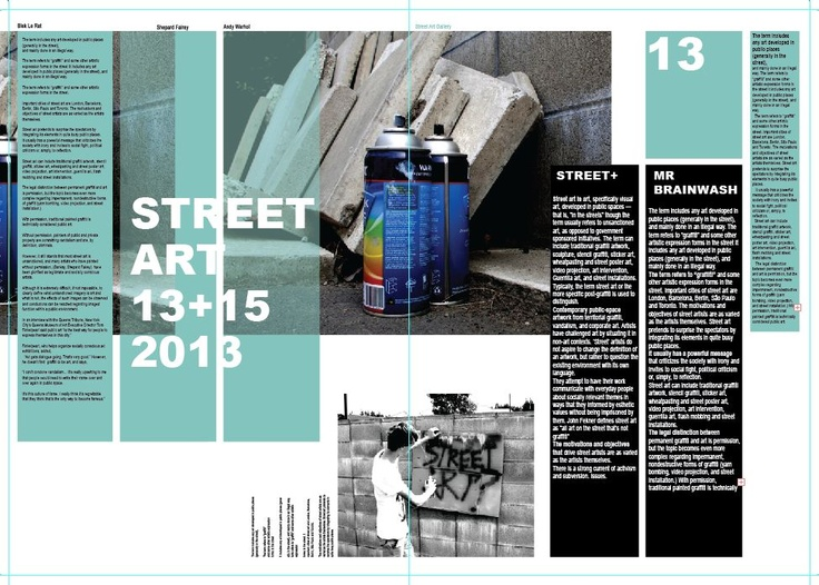 Street art magazine layout design double page spread for Design art magazine