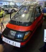 CITY EL, einsitziges Elektro-Dreiradfahrzeug, die Firma in Dänemark hat seit 1986 über 6.000 Stück gebaut, Vmax.50Km/h, Reichweite ca.50Km, Museum Autovision Altlußheim, Sept.2014