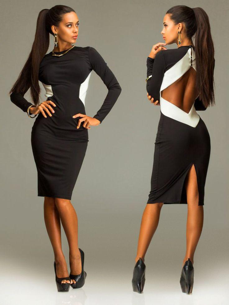 Платье футляр с открытой спиной, черное