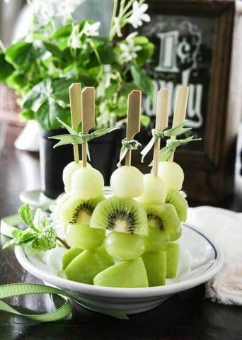 green fruit kebabs.                                                                                                                                                                                 More