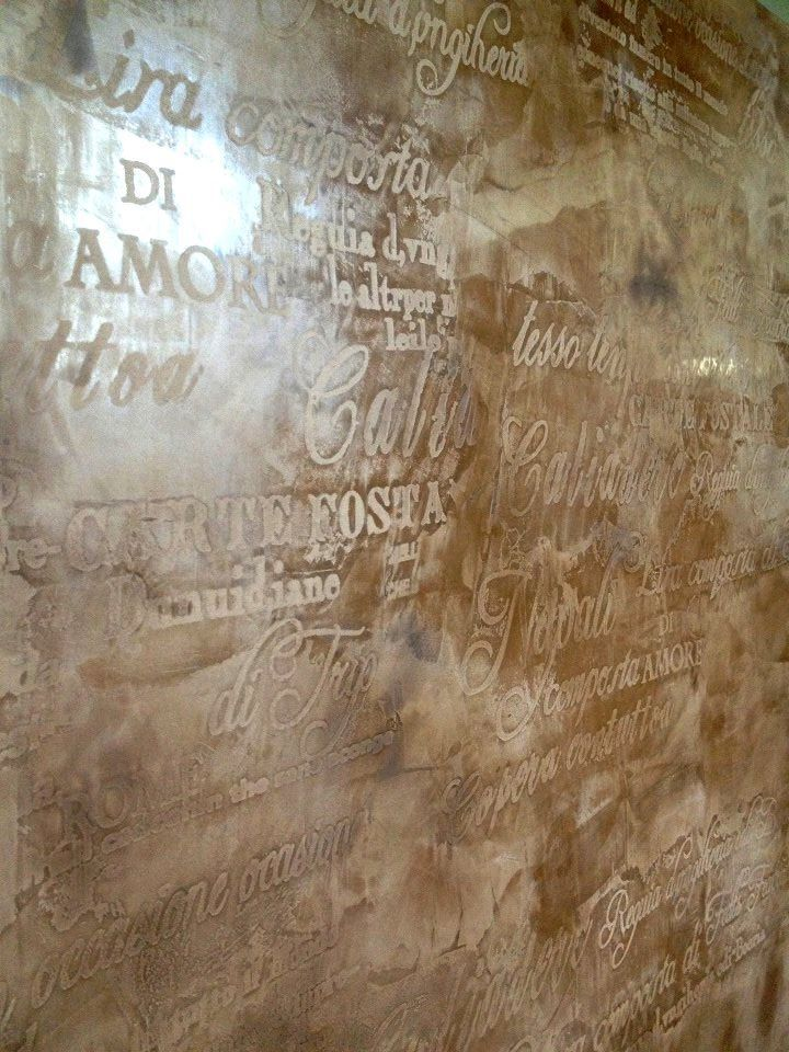 Words etched into plaster. Would you be brave enough to try this?