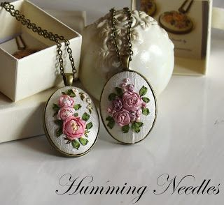 Humming Needles   Silk ribbon embroidery pendants. WOW!