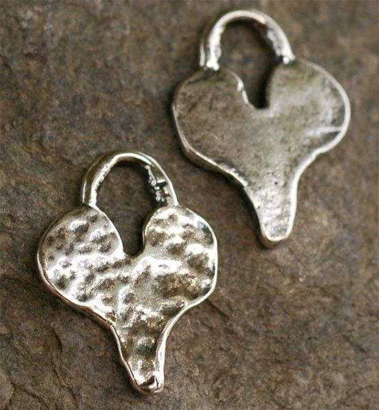 TWO Handcrafted Artisan HAMMERED HEART Sterling Silver Charm