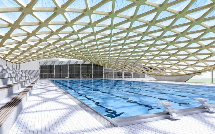 Centre aquatique d annemasse french building design by serero architectes paris translucent for Pool design france