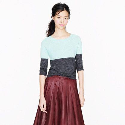 J Crew dream colorblock sweaterBurgundy Leather, Leather Skirts, J Crew, Mint Color, Dreams Colorblock, Crew Colorblock, Colors Block, Jcrew, Colorblock Sweaters