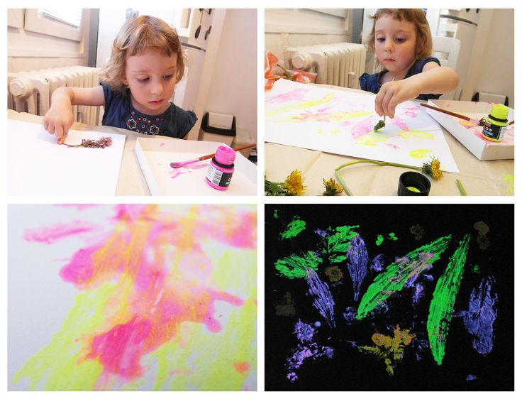 kids painting with nature acryl inspiration diy 2-3 years, children activities fosfor