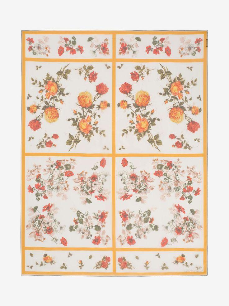 Alexander McQueen FLORAL TABLECLOTH SHAWL    £ 375  Ivory silk chiffon shawl with a multicoloured floral motif.