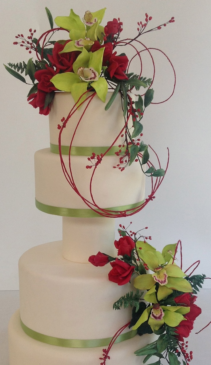 wedding cake with gumpaste flowers to finish it off just