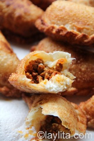 Choriqueso empanadas filled with chorizo and cheese, can be fried or ...