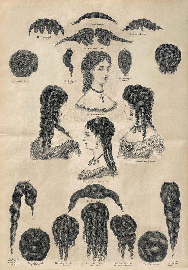 26 de marzo de 1869. El correo de la moda. Tutorial sobre peinados y postizos. A la par que algunos peinados completos, que dan perfecta idea de la moda actual, ofrecemos á nuestras lectoras...