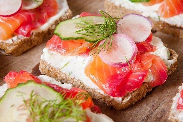 Rye Toast With Beet Cured Salmon and Scallion Cream Cheese