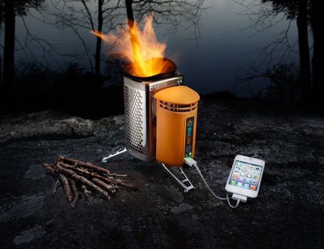 THIS IS AMAZING! BioLite CampStove - Burn those small twigs and pine cones to make your dinner and charge your phone in less than 20 min.