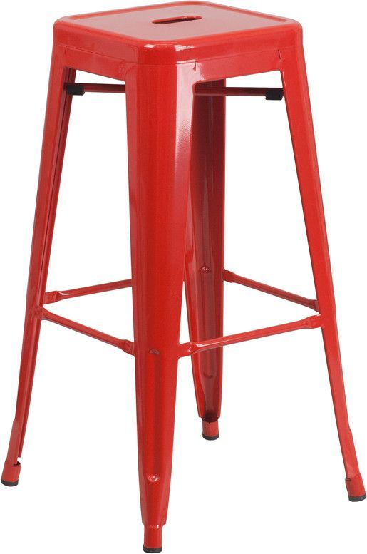 Stackable Industrial Style Modern Bar Stool, stack 4-8 stools. Powder Coat…
