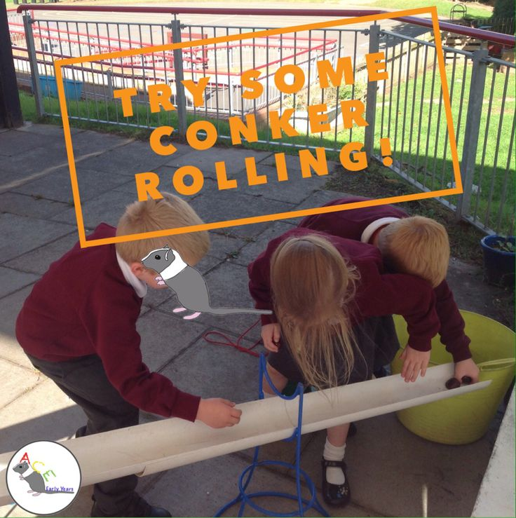 The children loved running around collecting newly fallen conkers and then rolling them down ever increasingly complicated tube systems! #eyfs #earlyyears #autumn #fall #aceearlyyears #leafman #conkers