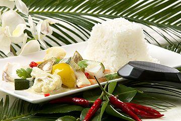 Grüner Thai-Curry mit Fisch