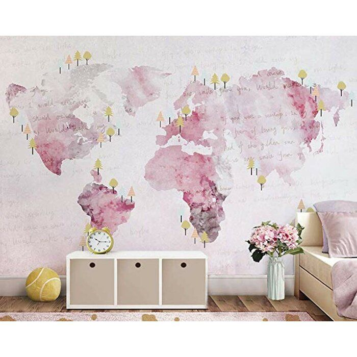 3D Pink Map GN975 Wallpaper Mural Decal Mural Photo Sticker Decal Wall Self-Adhesive Wall Art Design 3d printed Removable Wallpaper