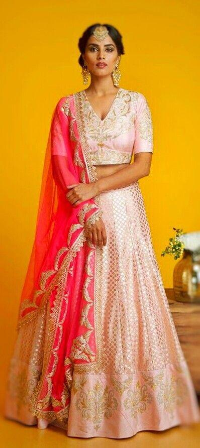Pink Lehenga by Amrita Thakur #Lehenga #AmritaThakur #IndianFashion #DesiFashion @CremeDeModa
