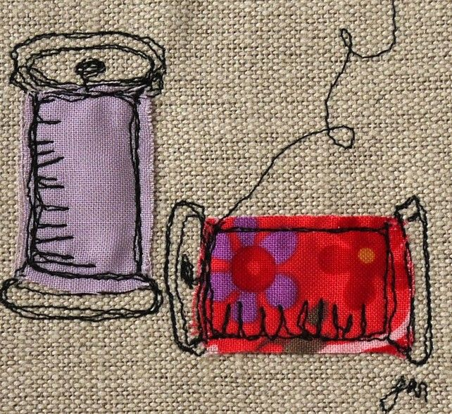Make do and mend - framed freestyle machine embroidery picture £12.00