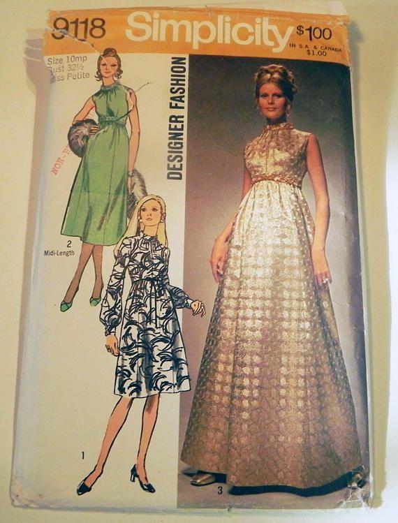 1970s Evening Gown Maxi dress Sleeveless empire waist raised ...