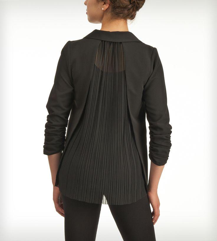 Black Blazer with Pleated Back | Jaleh