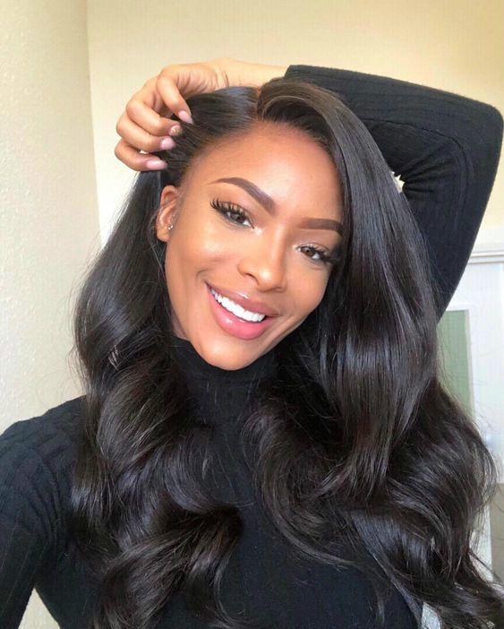 Schöne lange gewellte Frisuren Perücken für schwarze Frauen Lace Front Perücken Echthaar Perücken kaufen jetzt