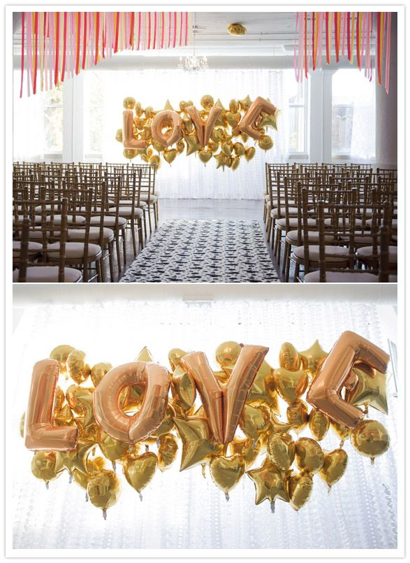 Letter balloons ceremony backdrop hiding the ugly at for Love letter wedding ceremony