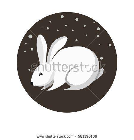 Chinese zodiac sign Rabbit. Symbol of Eastern Asian horoscope or lunar calendar element. Vector round icon illustration