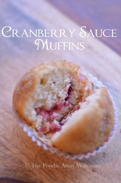 Cranberry Sauce Muffins - putting those Thanksgiving leftovers to good use! Tender muffins filled with cranberry sauce, make a delicious start to your morning. | TheFoodieArmyWife.com | SundaySupper